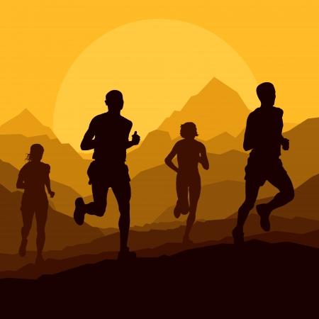 mujeres corriendo: Los corredores de marat�n de monta�a salvaje naturaleza ilustraci�n vectorial paisaje de fondo Vectores