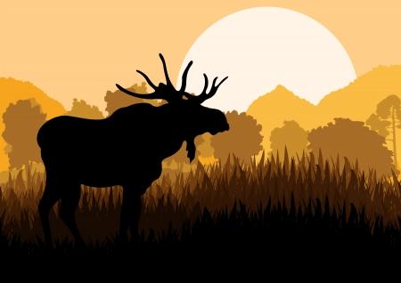 Moose in wild nature landscape background illustration vector Vector