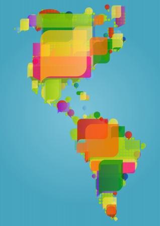 world trade: Norte, sur y centro de Am�rica del continente mapa del mundo hecho de discurso colorido vector burbujas concepto de ilustraci�n de fondo
