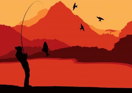 Fisherman landscape vector background for poster Vector