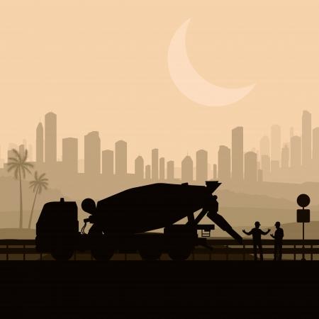 Camión mezclador de concreto en la carretera del desierto sitio de construcción ilustración vectorial paisaje Ilustración de vector