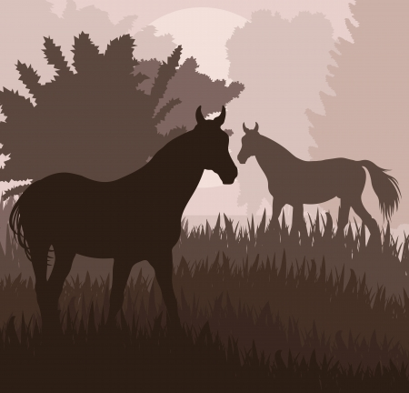 stirrup: Horses in field vector background for poster Illustration