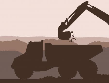 sandpit: Excavador del cargador en emplazamiento de la obra con el fondo elevado vector cubo