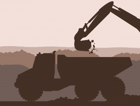 Excavator loader at construction site with raised bucket vector background Stock Vector - 16289057
