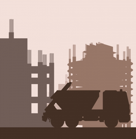 jenny: Building site and truck vector background for poster Illustration