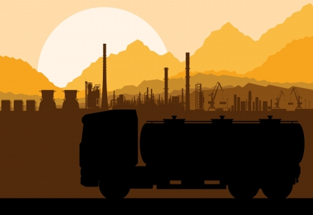 cistern: Industrial oil refinery factory and gasoline truck cistern silhouettes landscape background illustration vector