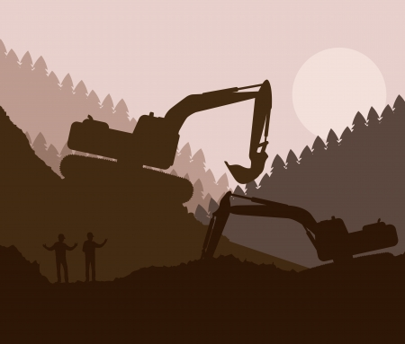 excavating machine: Excavator loader at construction site with raised bucket vector background Illustration