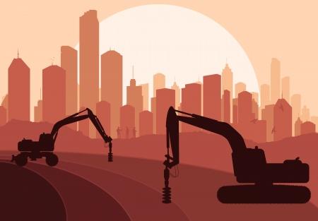 escavadeira: Máquina de perfuração hidráulica, máquinas para construção de equipamentos vector background Ilustração