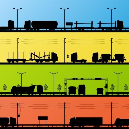 convoy: Autostrada paesaggio stradale e mezzi pesanti dettagliata illustrazione vettore sagome raccolta sfondo