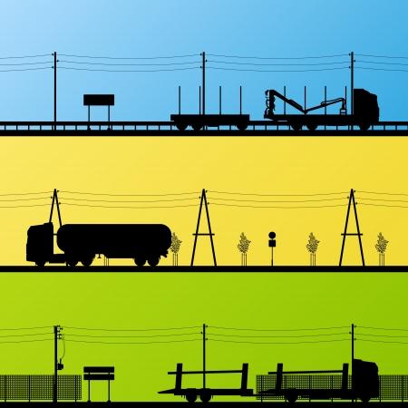 camión cisterna: Forestal y de la maquinaria de la industria petrolera camiones detallan ilustración siluetas editable colección de vectores de fondo Vectores