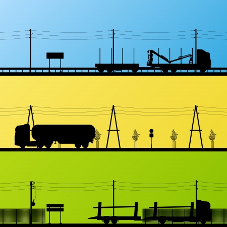 lumber industry: Forestry and oil industry trucks machinery detailed editable silhouettes illustration collection background vector