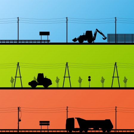 good nature: Highway roadway construction site roadwork landscape and heavy duty trucks and tractors detailed silhouettes illustration collection background vector