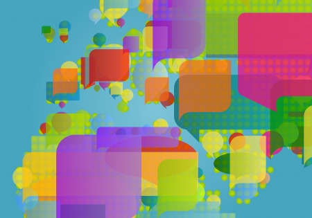 east africa: Europe, north africa and middle east map made of colorful speech bubbles concept illustration background vector