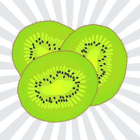 kiwi fruit: Fruta jugoso kiwi vector fondo para el cartel Vectores