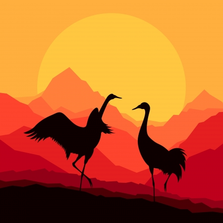 sunset lake: Crane flying in wild mountain nature landscape background