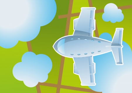 Plane in sky cartoon background vector for poster Vector