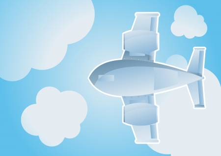 Plane in sky cartoon background vector for poster Stock Vector - 16289019