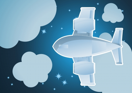 Plane in sky cartoon background vector for poster Stock Vector - 16289043