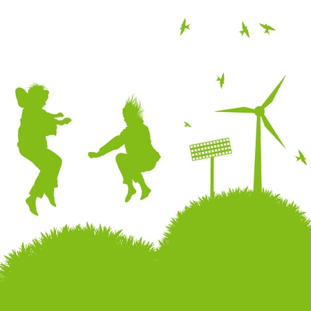 Ecology city and elements background vector concept- wind alternative energy and girls playing in grass Stock Vector - 16289055