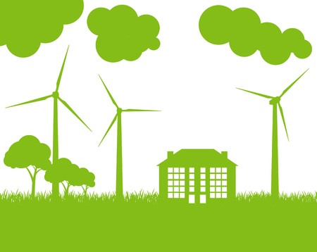 office environment: Green Eco city ecology vector background concept with wind generators
