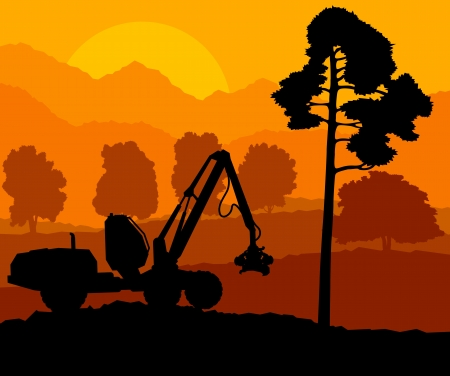 cut logs: Forest cut down landscape with wood and heavy equipment track Illustration