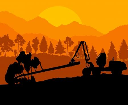cut logs: Bosque reducir paisaje con madera y pista de equipo pesado Vectores