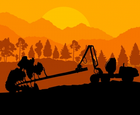Forest cut down landscape with wood and heavy equipment track Stock Vector - 16289047