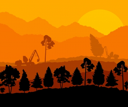 deforestation: Forest cut down landscape with wood and heavy equipment track Illustration
