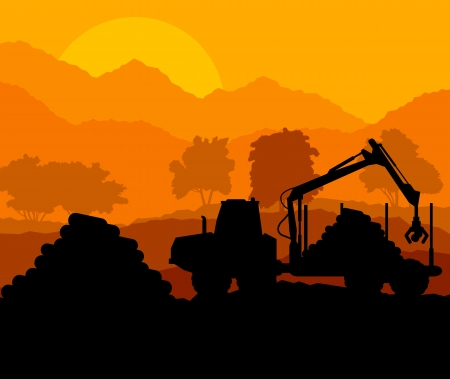 heavy: Forest cut down landscape with wood and heavy equipment track Illustration