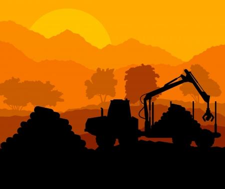 idraulico: Foresta tagliare paesaggio con legno e pista attrezzature pesanti