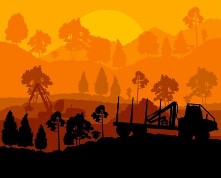 deforestacion: Bosque reducir paisaje con madera y pista de equipo pesado Vectores