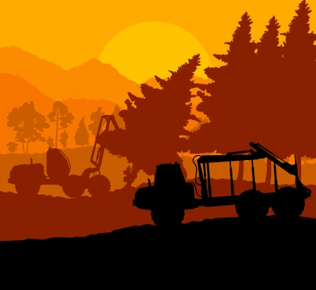 forestry industry: Forest cut down landscape with wood and heavy equipment track Illustration