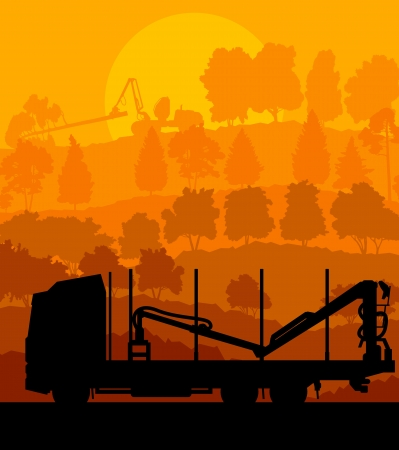 Forest cut down landscape with wood and heavy equipment track Stock Vector - 16289062