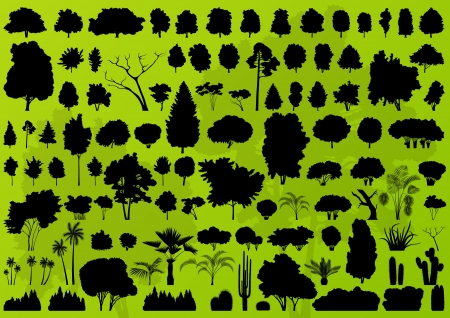 bush: Forest trees silhouettes landscape illustration collection background vector