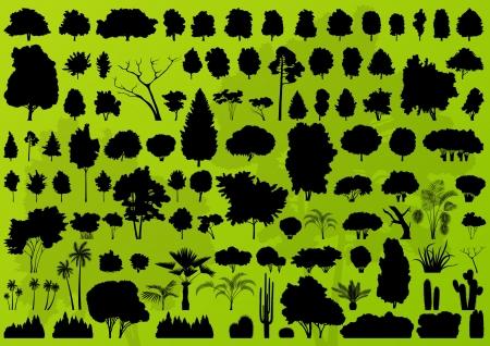 buisson: Les arbres forestiers silhouettes illustration paysage de fond vecteur de collecte