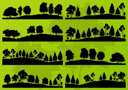 huge tree: Forest trees silhouettes landscape illustration collection background vector
