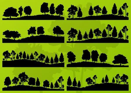 arbol roble: Los �rboles forestales siluetas ilustraci�n paisaje colecci�n de vectores de fondo