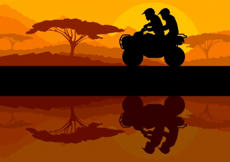 All terrain vehicle quad motorbike riders in wild nature landscape background illustration vector