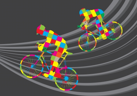 bicycling: Cyclist riding a bicycle vector background for poster