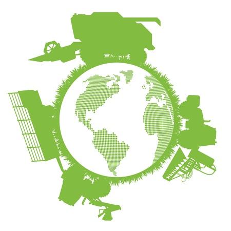 cosechadora: Cosechadoras concepto de la ecología mundial