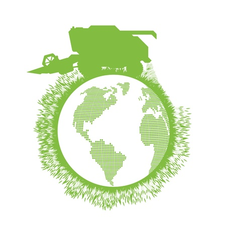 Combine harvester world ecology concept Stock Vector - 16289254