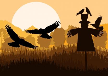 espantapajaros: Espantapájaros con cuervos volando en otoño campo rural paisaje de fondo ilustración vectorial