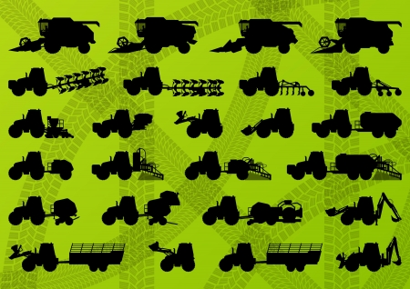 harvester: Agriculture industrial farming equipment tractors, trucks, harvesters, combines and excavators detailed silhouettes illustration collection background vector Illustration