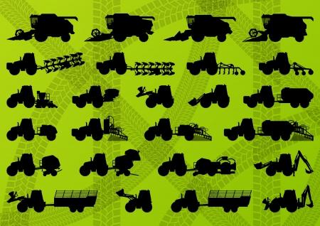 bála: Mezőgazdasági, ipari mezőgazdaság traktorok, teherautók, kombájnok, kombájnok és kotrógépek részletezett sziluettek illusztráció gyűjtemény háttér vektor