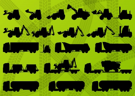 farmed: Agriculture industrial farming equipment tractors, trucks, harvesters, combines and excavators detailed silhouettes illustration collection background vector Illustration