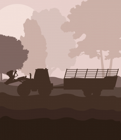 agronomics: Tractor with trailer vector background vector