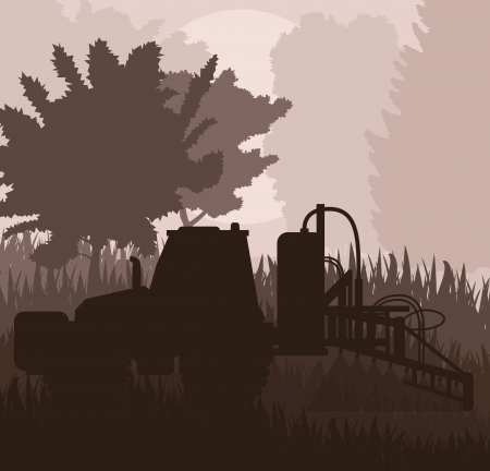 Tractor spraying a field vector background for poster Stock Vector - 16289066