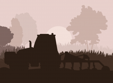 Tractor plowing the field vector background for poster Vector