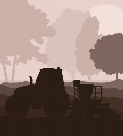 fieldwork: Tractor and seeder planting crops on a field vector background