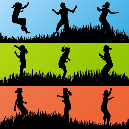 Colorful jumping children silhouettes illustration collection background vector Vector